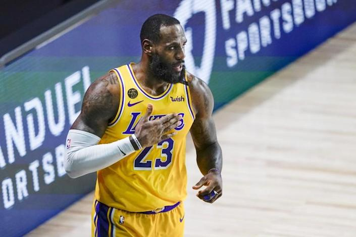 """LeBron James scored 36 points and had a triple-double in the Lakers' 131-122 win over Trail Blazers on Saturday night that wrapped up the first-round series in five games. <span class=""""copyright"""">(Ashley Landis / Associated Press)</span>"""