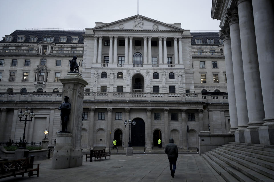 The Bank of England in the City of London financial district. Photo: Matt Dunham/AP