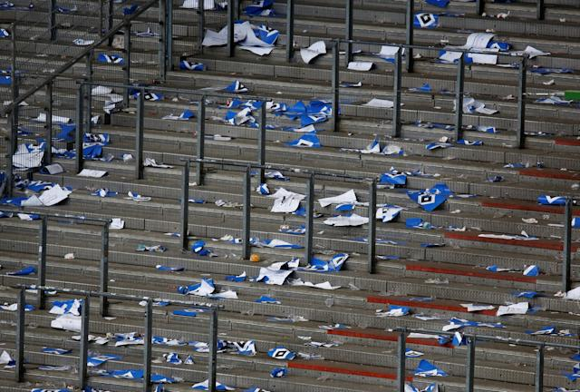 Soccer Football - Bundesliga - Hamburger SV v Borussia Moenchengladbach - Volksparkstadion, Hamburg, Germany - May 12, 2018 General view of banners left on the stands after the match REUTERS/Morris Mac Matzen DFL RULES TO LIMIT THE ONLINE USAGE DURING MATCH TIME TO 15 PICTURES PER GAME. IMAGE SEQUENCES TO SIMULATE VIDEO IS NOT ALLOWED AT ANY TIME. FOR FURTHER QUERIES PLEASE CONTACT DFL DIRECTLY AT + 49 69 650050