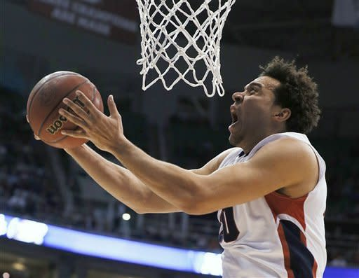 Gonzaga's Elias Harris lays a shot in against Wichita State in the first half during a third-round game in the NCAA men's college basketball tournament in Salt Lake City on Saturday, March 23, 2013. (AP Photo/George Frey)