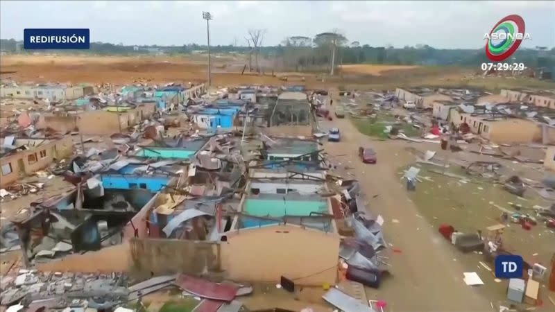 Drone footage shows damaged buildings after explosions in Equatorial Guinea