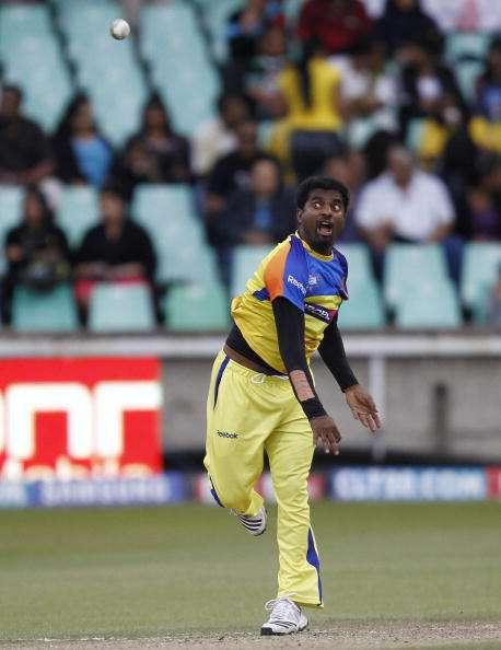 DURBAN, SOUTH AFRICA - SEPTEMBER 24: Muttiah Muralitharan warms up before the Airtel Champions League Twenty20 semi final match between Chennai Super Kings and Royal Challengers Bangalore at Sahara Stadium Kingsmead on September 24, 2010 in Durban, South Africa. (Photo by Anesh Debiky/Gallo Images/Getty Images)