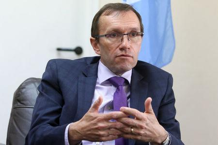 U.N. Special Advisor on Cyprus Espen Barth Eide speaks during an interview with Reuters at the United Nations offices in the buffer zone of Nicosia airport