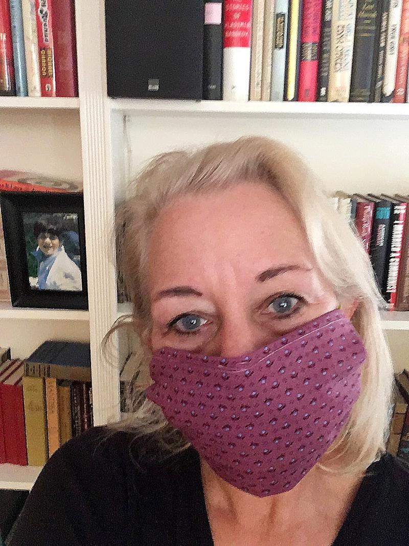Laura Lippman with a homemade mask.