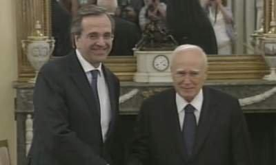 Samaras Sworn In As New Greek Prime Minister