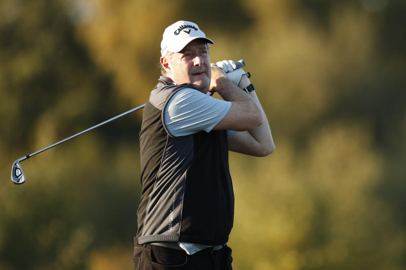 TADWORTH, ENGLAND - OCTOBER 10: Piers Morgan in action during the Hero Pro Am prior to the start of the Sky Sports British Masters at Walton Heath Golf Club on October 10, 2018 in Tadworth, England. (Photo by Luke Walker/Getty Images)