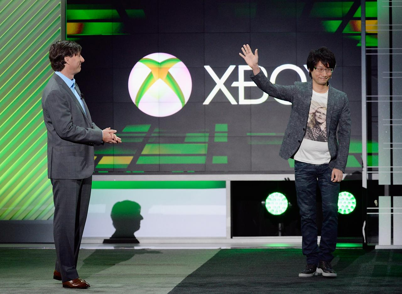 LOS ANGELES, CA - JUNE 10:  Don Mattrick, (L) president of the Interactive Entertainment Business at Microsoft, introduces Japanese game director Hideo  Kojima, head of Kojima Productions during the Microsoft Xbox news conference at the Electronic Entertainment Expo at the Galen Center on June 10, 2013 in Los Angeles, California. Thousands are expected to attend the annual three-day convention to see the latest games and announcements from the gaming industry.  (Photo by Kevork Djansezian/Getty Images)