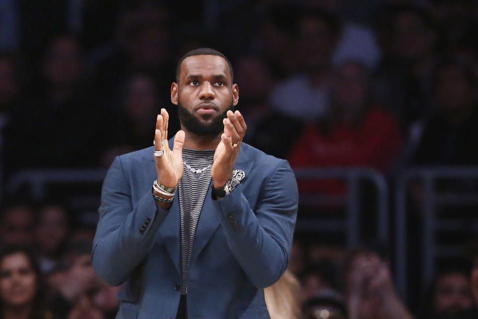 LeBron James appeared to forget the great ring debate surrounding the NBA GOAT argument on Sunday. (Getty)