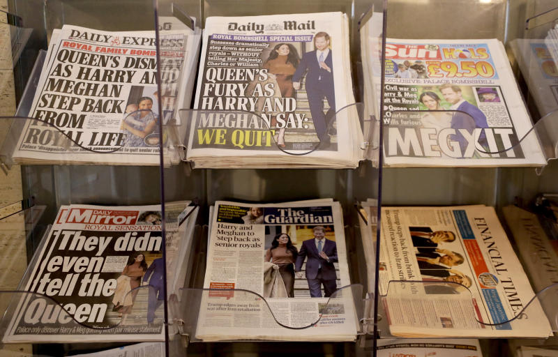 "Newspapers are seen for sale in London, Thursday, Jan. 9, 2020. In a statement Prince Harry and his wife, Meghan, said they are planning ""to step back"" as senior members of the royal family and ""work to become financially independent.""(AP Photo/Kirsty Wigglesworth)"