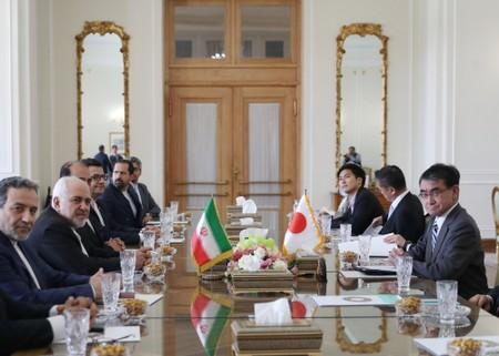 Iranian Foreign Minister Mohammad Javad Zarif meets with Japanese Foreign Minister Taro Kono and officials in Tehran