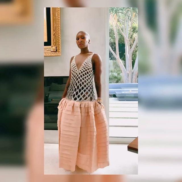 """<p>Cynthia Erivo has been having quite the season on the red carpet, making a statement in everything from Valentino and Schiaparelli to Louis Vuitton. Last night called for Lanvin in the form of a beautiful beaded gown with a drop waist, another perfect choice.</p><p><a href=""""https://www.instagram.com/p/CM8IQk6pYI_/?utm_source=ig_embed&utm_campaign=loading"""" rel=""""nofollow noopener"""" target=""""_blank"""" data-ylk=""""slk:See the original post on Instagram"""" class=""""link rapid-noclick-resp"""">See the original post on Instagram</a></p>"""