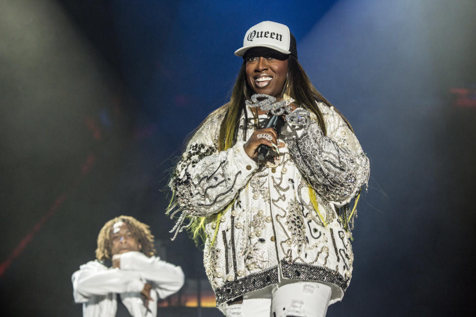 """Missy Elliott, here performing at FYF Festival in 2017, has a big fan in Rhode Island that she's dubbed her """"funky white sister."""" (Photo: Harmony Gerber/FilmMagic)"""