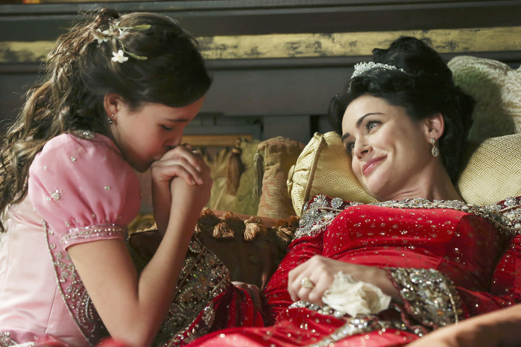 """""""The Queen is Dead"""" - Upon discovering Cora and Regina's plan to find and take possession of Rumplestiltskin's dagger, Mary Margaret, with the aid of David and Mother Superior, makes it her mission to find it first; and while Mr. Gold continues his quest in New York to reunite with son Bae, Hook devises a plan to rid himself of a crocodile. Meanwhile, in the fairytale land that was, the Blue Fairy offers Snow White an unconventional enchantment that could help save her dying mother, Queen Eva, on """"Once Upon a Time."""""""