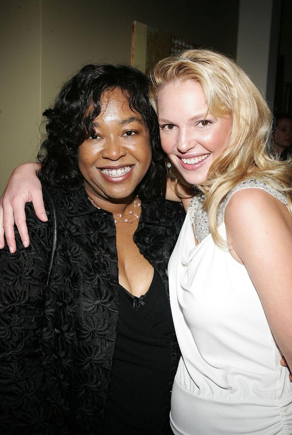 """<p>The drama between Katherine Heigl and <em>Grey's</em> <em>Anatomy</em> creator and producer Shonda Rhimes first came to light in 2008 when the actress <a href=""""https://www.nytimes.com/2008/06/14/arts/television/14heig.html"""" rel=""""nofollow noopener"""" target=""""_blank"""" data-ylk=""""slk:declined her Emmy nomination"""" class=""""link rapid-noclick-resp"""">declined her Emmy nomination</a> for her role as Izzie Stevens on the medical show, stating that she did not feel that she """"was given the material this season to warrant an Emmy nomination."""" The strained relationship between Katherine and Shonda eventually led the actress to exit the show in 2010.</p><p><strong>RELATED: </strong><a href=""""https://www.goodhousekeeping.com/life/entertainment/g32160800/shocking-character-exits-on-tv/"""" rel=""""nofollow noopener"""" target=""""_blank"""" data-ylk=""""slk:20 Shocking Character Exits in TV History — and the Real Reasons the Actors Left"""" class=""""link rapid-noclick-resp"""">20 Shocking Character Exits in TV History — and the Real Reasons the Actors Left</a></p>"""