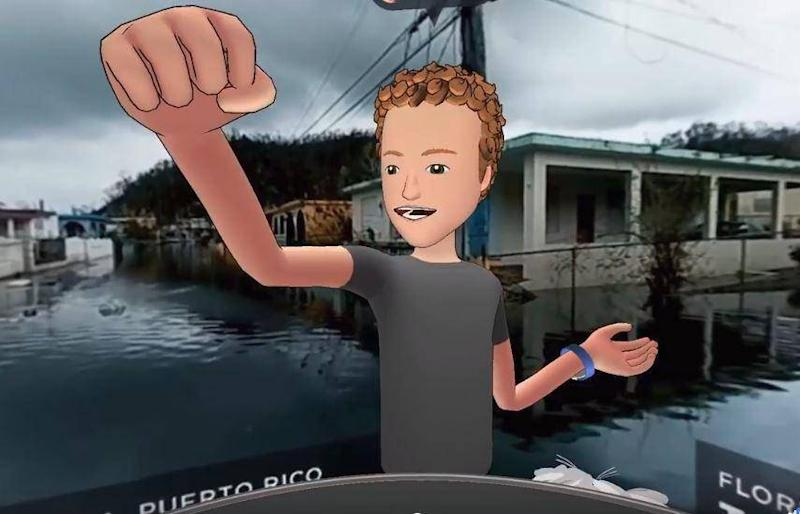 A VR avatar of Facebook founder Mark Zuckerberg appeared in hurricane-hit Puerto Rico last October (Facebook)