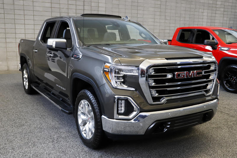 This is a GMC 2019 Sierra 1500 4WD Crew Cab SLT truck on display at the 2019 Pittsburgh International Auto Show in Pittsburgh Thursday, Feb. 14, 2019. (AP Photo/Gene J. Puskar)