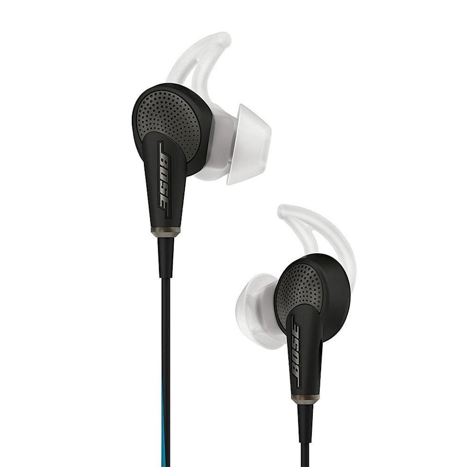 "<p><strong>Bose</strong></p><p>amazon.com</p><p><strong>$249.00</strong></p><p><a href=""https://www.amazon.com/dp/B00X9KV0HU?tag=syn-yahoo-20&ascsubtag=%5Bartid%7C2089.g.1545%5Bsrc%7Cyahoo-us"" rel=""nofollow noopener"" target=""_blank"" data-ylk=""slk:Shop Now"" class=""link rapid-noclick-resp"">Shop Now</a></p><p>Available since 2015, the Bose QuietComfort 20 have are still a benchmark for wired noise-canceling earbuds. The comfy buds bring outstanding noise cancellation via a dedicated control module with a built-in rechargeable battery. </p><p>The earbuds have a built-in remote control and microphone for making calls with a compatible device. They can deliver up to 16 hours of distraction-free tunes between battery charges.</p>"