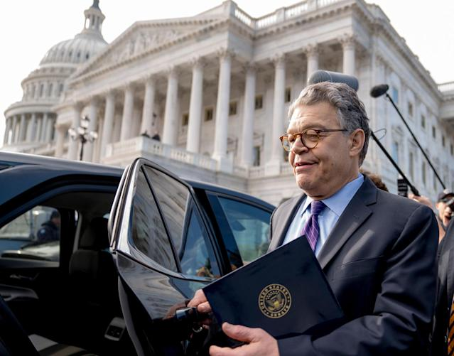 <p>DEC. 7, 2017 – Sen. Al Franken, D-Minn., leaves the Capitol after speaking on the Senate floor on Capitol Hill in Washington. Franken said he will resign from the Senate in coming weeks following a wave of sexual misconduct allegations and a collapse of support from his Democratic colleagues, a swift political fall for a once-rising Democratic star. (Photo: Andrew Harnik/AP) </p>