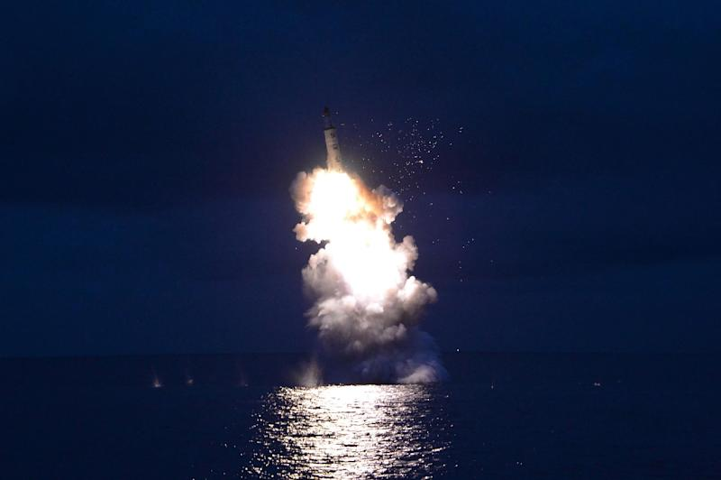 North Korea test-fires a strategic submarine-launched ballistic missile at an undisclosed location in August 2016, in this official government media photo