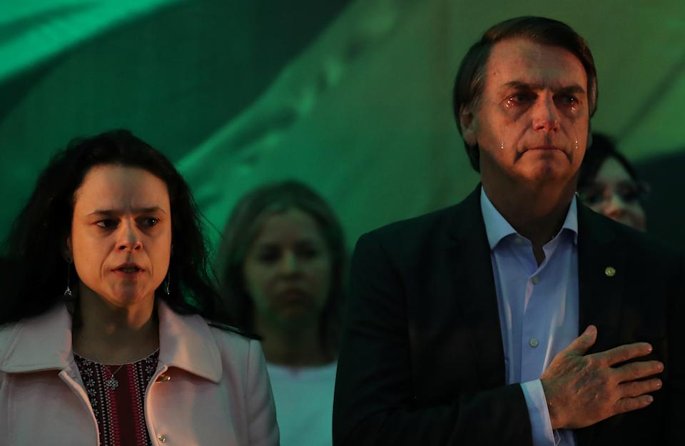 Lawyer Janaina Paschoal stands as Federal deputy Jair Bolsonaro reacts during the national convention of the Party for Socialism and Liberation (PSL) where he is to be formalised as a candidate for the Presidency of the Republic, in Rio de Janeiro, Brazil July 22, 2018. REUTERS/Ricardo Moraes
