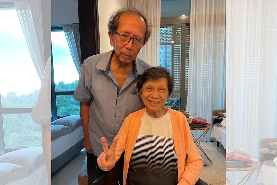 Married for just over a year, Tom Iljas, 81, and his wife Liong May Swan, 79, pose for a photo on Tuesday, 4 May 2021. (PHOTO: Nicholas Yong/Yahoo News Singapore)