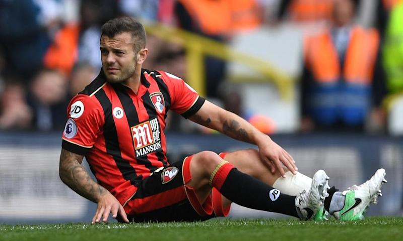 Bournemouth's Jack Wilshere goes down injured during the match against Tottenham.