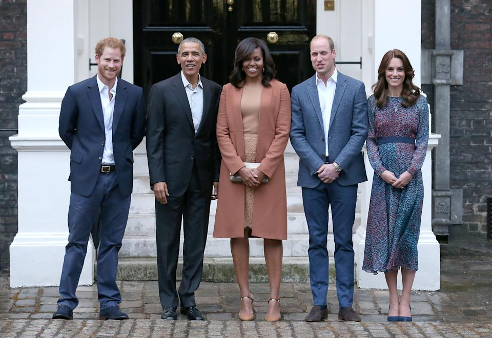 Prince Harry, Barack Obama, Michelle Obama, Prince William and Kate Middleton