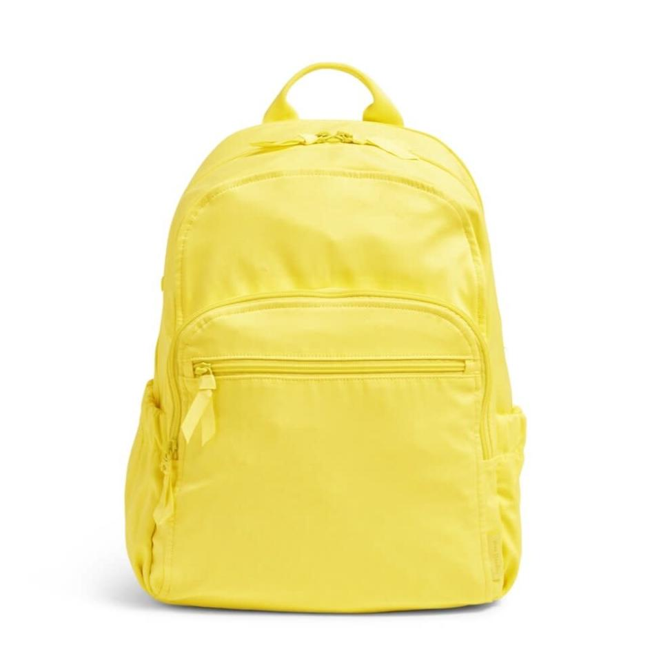 Vera Bradley Campus Backpack in Recycled Cotton_Citronella Glow