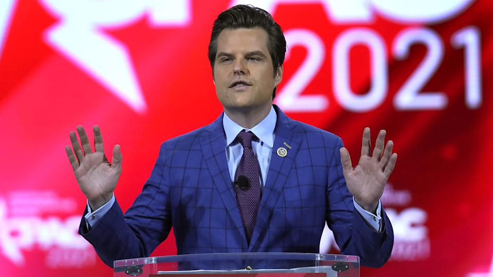 Rep. Matt Gaetz (R-FL) addresses the Conservative Political Action Conference being held in the Hyatt Regency on February 26, 2021 in Orlando, Florida. (Joe Raedle/Getty Images)