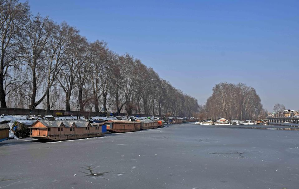 A view of the frozen Dal Lake on Wednesday, 13 January.