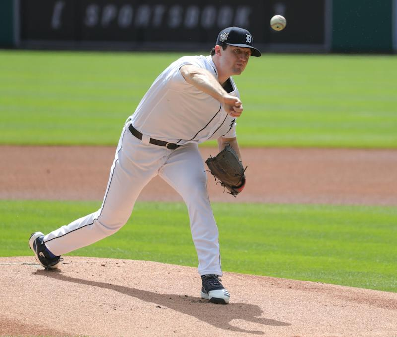 Detroit Tigers starting pitcher Casey Mize pitches against the Minnesota Twins during the first inning at Comerica Park, Sunday, August 30, 2020.