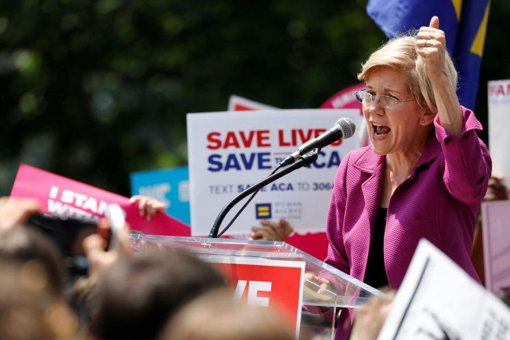 Sen. Elizabeth Warren (D-MA) speaks during a demonstration against the Republican repeal of the Affordable Care Act, outside the U.S. Capitol in Washington, U.S., June 21, 2017. (Photo: Aaron P. Bernstein/Reuters)
