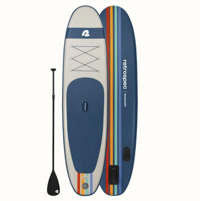 """<p>""""I love spending time on the water in the summer, and this <span>Retrospec Weekender Inflatable Paddle Board</span> ($350) allows me to stand up and cruise around the lake, sit and chill watching my kids swim, or practice some yoga. I also have the <span>electric pump</span> ($90) so I can get on the water faster - a foot pump takes at least 15 minutes, and this takes less than 10. I love that this paddle board is so lightweight and easy to store off-season."""" - Jenny Sugar, staff writer, Fitness</p>"""