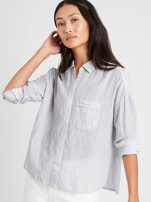 <p>How pretty does the <span>Banana Republic Stripe High-Low Shirt</span> ($63, originally $80) look with white jeans?!</p>