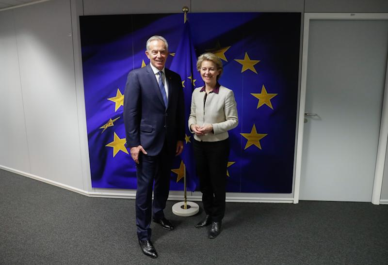 Former British Prime Minister Tony Blair (L) is welcomed by the President of the European Commission Ursula von der Leyen, ahead of a meeting at the European Commission in Brussels, Belgium, 6 November 2019. (Photo by STEPHANIE LECOCQ / EPA / AFP) (Photo by STEPHANIE LECOCQ/EPA/AFP via Getty Images)