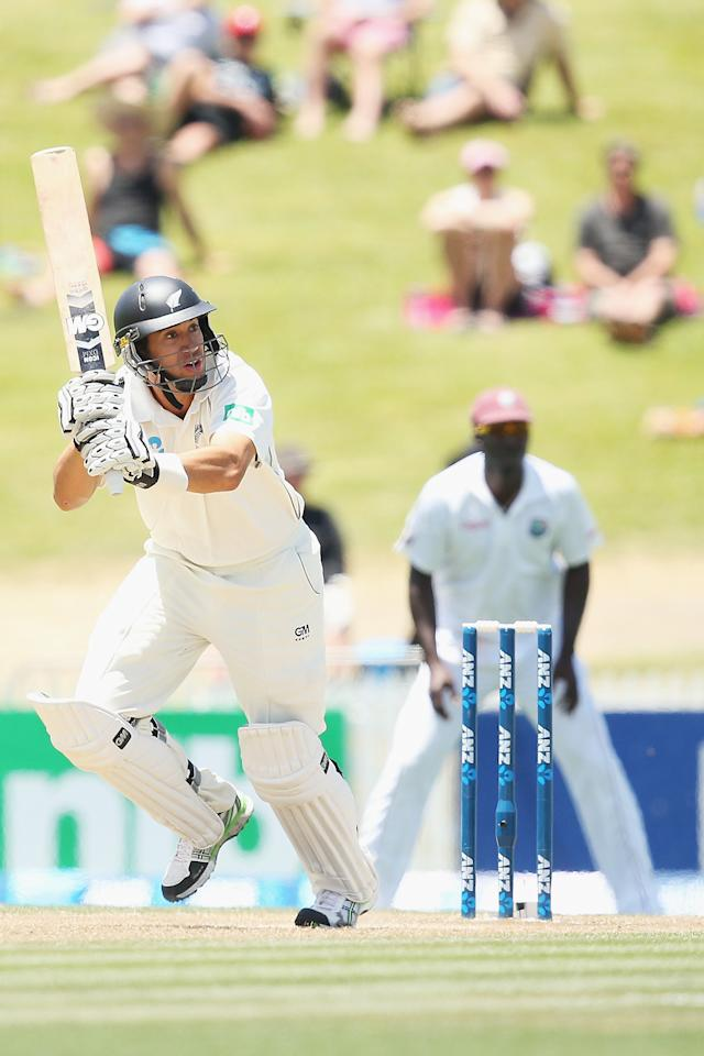 HAMILTON, NEW ZEALAND - DECEMBER 21:  Ross Taylor of New Zealand flicks the ball away for four runs during day three of the Third Test match between New Zealand and the West Indies at Seddon Park on December 21, 2013 in Hamilton, New Zealand.  (Photo by Hannah Johnston/Getty Images)