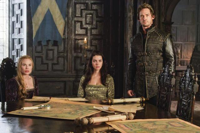 Celina Sinden as Greer, Adelaide Kane as Mary, and Will Kemp as Lord Darnley (Photo: Ben Mark Holzberg /The CW)