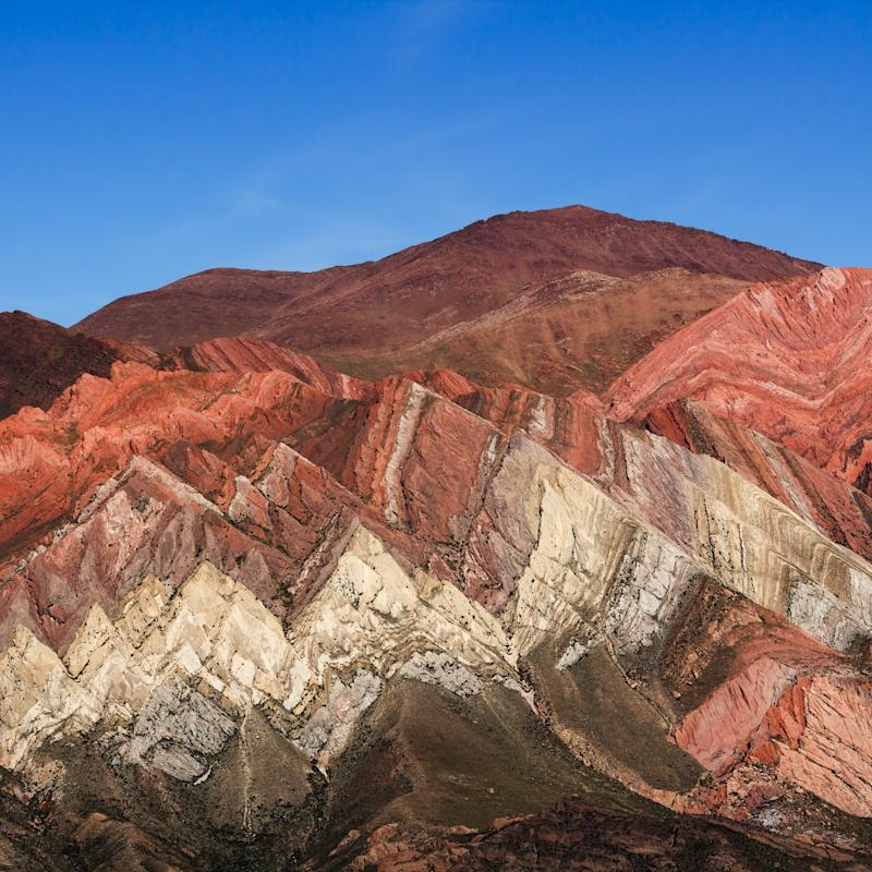 The Serrana de Hornocal mountain range, in the province of Jujuy, Argentina, has distinctive multicoloured striations, formed by mineral deposition and subsequent tectonic-plate movement - klausbalzano