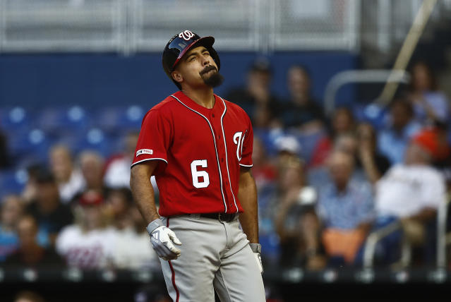 Washington Nationals' Anthony Rendon (6) reacts to being hit by the ball by Miami Marlins starting pitcher Jose Urena (62) during the third inning of a baseball game against the on Saturday, April 20, 2019, in Miami. (AP Photo/Brynn Anderson)