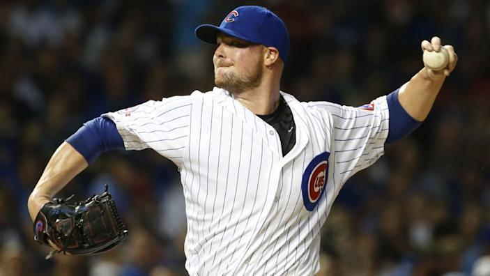 FILE - In this Sept. 25, 2016, file photo, Chicago Cubs starter Jon Lester throws against the St. Louis Cardinals during the first inning of a baseball game in Chicago. Kris Bryant is back. Same for Anthony Rizzo and Jon Lester, too. Even 1908 is back in the picture. That was the last time the Chicago Cubs won the World Series before Bryant and company ended the drought last November. (AP Photo/Nam Y. Huh, File)