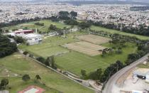 An aerial view shows the CT do Caju training center, where Spain's national soccer team will be based during the 2014 World Cup soccer tournament, in Curitiba April 30, 2014. REUTERS/Roldofo Buhrer (BRAZIL - Tags: SPORT SOCCER WORLD CUP)