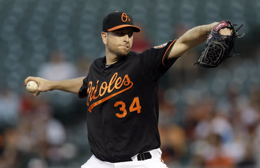 Baltimore Orioles starting pitcher Scott Feldman throws to the Chicago White Sox in the first inning of a baseball game on Friday, Sept. 6, 2013, in Baltimore. (AP Photo/Patrick Semansky)