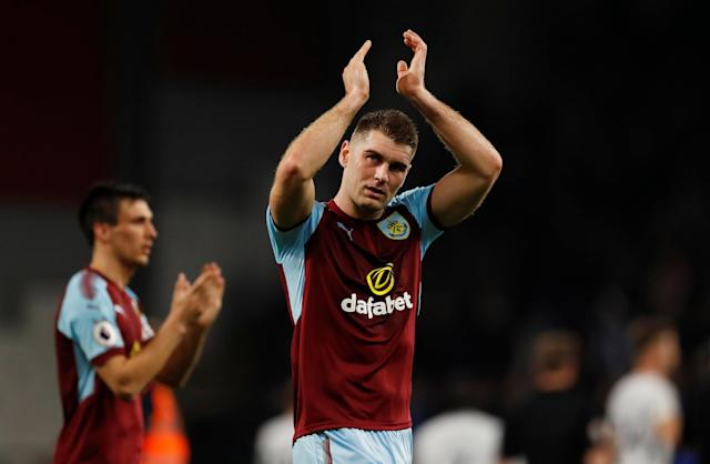 "Soccer Football - Premier League - Burnley vs Chelsea - Turf Moor, Burnley, Britain - April 19, 2018 Burnley's Sam Vokes applauds fans after the match Action Images via Reuters/Andrew Boyers EDITORIAL USE ONLY. No use with unauthorized audio, video, data, fixture lists, club/league logos or ""live"" services. Online in-match use limited to 75 images, no video emulation. No use in betting, games or single club/league/player publications. Please contact your account representative for further details."