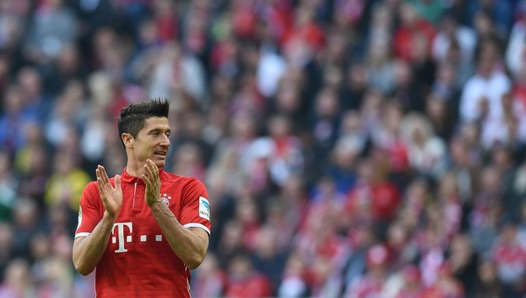 Bayern Munich's striker Robert Lewandowski reacts during the German first division Bundesliga football match against Borussia Dortmund April 8, 2017