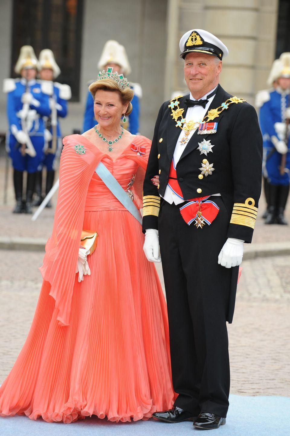 <p>Queen Sonja was the daughter of a merchant who married the future King Harald V of Norway in 1968. At first, Harald's father was against the marriage because she was a commoner, but fast-forward 50 years, and the King and Queen still rule Norway. </p>