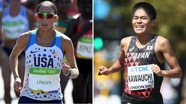 American Desiree Linden and Japan's Yuki Kawauchi were crowned Boston Marathon champions for the first time in the rain on Monday.