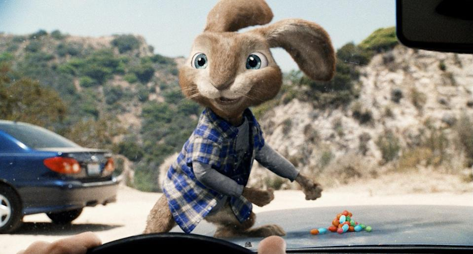 """<p><strong>What it's about:</strong> """"A jobless slacker finds himself beyond busy after he runs over the Easter Bunny and has to take over the rabbit's duties so the holiday can continue.""""</p> <p><a href=""""https://www.netflix.com/title/70142824"""" class=""""link rapid-noclick-resp"""" rel=""""nofollow noopener"""" target=""""_blank"""" data-ylk=""""slk:Stream Hop on Netflix!""""> Stream <strong>Hop</strong> on Netflix!</a></p>"""