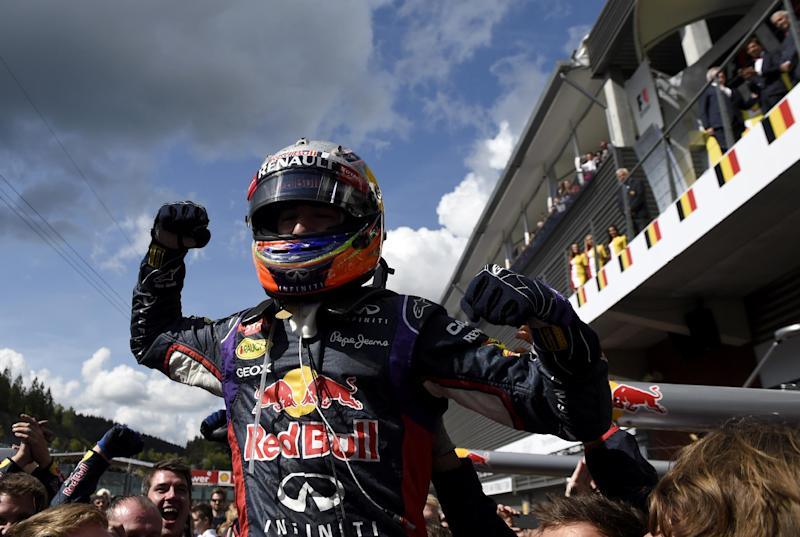 Red Bull Racing's Australian driver Daniel Ricciardo celebrates in the parc ferme at the Spa-Francorchamps circuit in Spa on August 24, 2014 after the Belgium Formula One Grand Prix