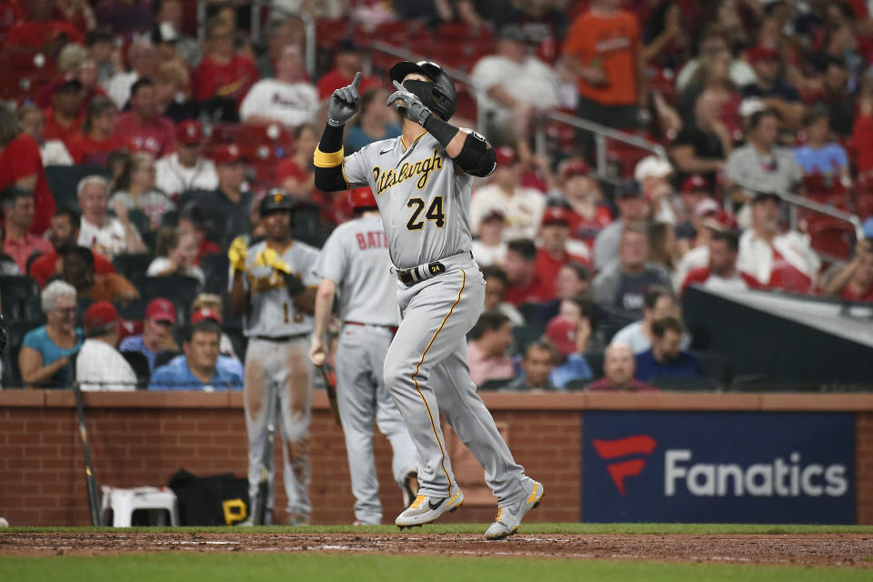 Pittsburgh Pirates' Phillip Evans reacts after hitting a home run during the eighth inning of a baseball game against the St. Louis Cardinals Thursday, June 24, 2021, in St. Louis. (AP Photo/Joe Puetz)