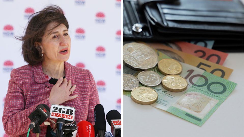 Premier Gladys Berejiklian, black wallet with Australian notes and coins.